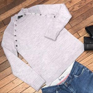 Central Park West Snap Mock Neck Sweater